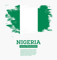 nigeria flag with brush strokes vector image vector image