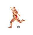 ornaments soccer player kicking ball vector image vector image