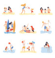 parents and their children playing swimming and vector image vector image
