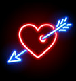 red heart pierced by cupids arrow neon sign vector image