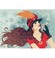 Retro girl in hat with feathers smoking cigarette vector image
