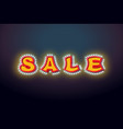sale light sign with lamps discount letter retro vector image vector image