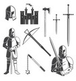 set knight and knight equipment icon knife vector image