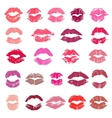Set of 23 colorful imprints of lipstick vector image vector image