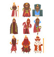 set of different funny bearded kings in different vector image