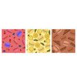 set seamless patterns with macaroons vector image