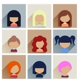 set women faces icons in flat design vector image