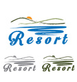 sketch hills and sea emblem of resort vector image vector image