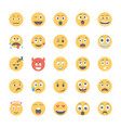 smiley flat icons set 2 vector image vector image