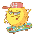 sun character on the skate vector image vector image