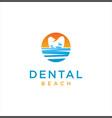 tooth dentist dental beach logo design vector image vector image