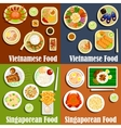 Vietnamese and singaporean cuisine dishes vector image vector image