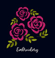 vintage embroidery red rose flower composition vector image