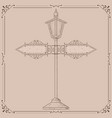 vintage lamp post hand drawn sketch vector image