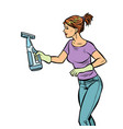washing cleaning sprayer woman vector image vector image