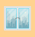 window and city view morning city skyline vector image vector image