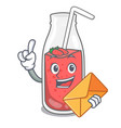 with envelope strawberry smoothie character vector image vector image