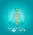 yoga day card lotus pose and gold chakra icons vector image vector image