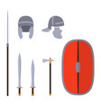 set of ancient rome weapon and protective vector image