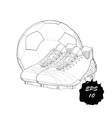 hand drawn graphic football boots with ball on vector image