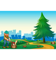 A lumberjack chopping the woods at the hilltop vector image vector image