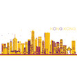 abstract hong kong china skyline with color vector image