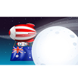 An air balloon travelling with the flag of vector image vector image
