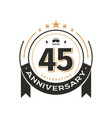 birtday vintage logo template to 45 th anniversary vector image vector image