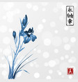 blue iris flowers hand drawn with ink in asian vector image vector image