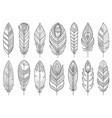 boho feather ethnic tribal line element set vector image