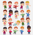 cartoon character boys and girls set with vector image vector image