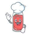 chef strawberry smoothie character cartoon vector image