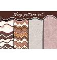 Chocolate waves seamless pattern set vector image