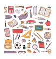 collection of school stationery items hand drawn vector image