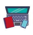 computer with book and cellphone blue lines vector image vector image