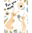 cute baby bunny gives his mom a flower card vector image