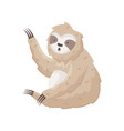 cute sloth waves paw hello sitting on the ground vector image