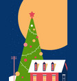 decorated christmas tree near cottage house vector image