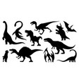 dinosaur silhouettes set vector image vector image