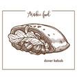 doner kebab in unusual shape from arabic food