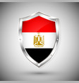 egypt flag on metal shiny shield collection of vector image vector image