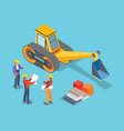 excavator and builders construction machinery vector image vector image