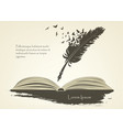 feather with flying birds and open book vector image vector image