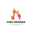 fire chicken flame hot logo icon vector image