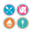 Food icons Muffin cupcake symbol Fork spoon vector image vector image