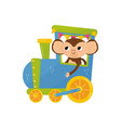 funny tropical monkey on colorful train cartoon vector image