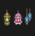 gold and silver ramadan lantern isolated on dark vector image