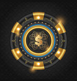 golden glowing casino chip vector image vector image