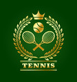 golden tennis emblem with laurel rackets and ball vector image