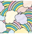 grated nature clouds rainbow in the sky background vector image vector image